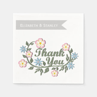Folklore flowers pink, blue botanical wedding disposable napkins