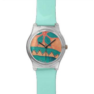 Folklore Orange Türkis Blume Dreiecke SIRAdesign Wrist Watch
