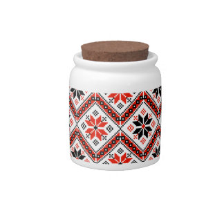 Folklore pattern candy jar