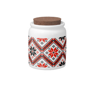Folklore pattern candy jars