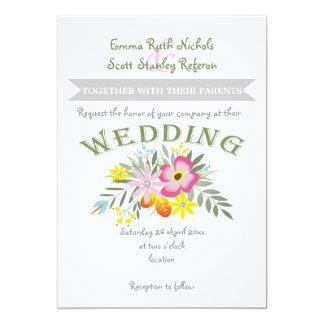 Folklore pink flowers modern floral wedding invitation