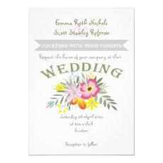 Folklore pink flowers modern floral wedding 5