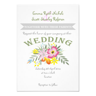 Folklore pink flowers modern floral wedding 5x7 paper invitation card