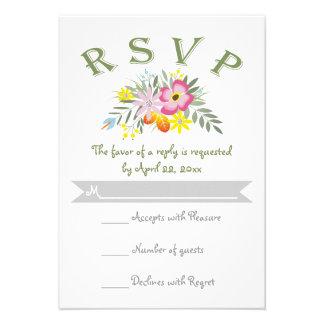 Folklore pink flowers modern floral wedding RSVP Invites