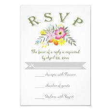Folklore pink flowers modern floral wedding RSVP 3.5