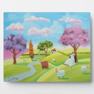 Folks art landscape painting plaque