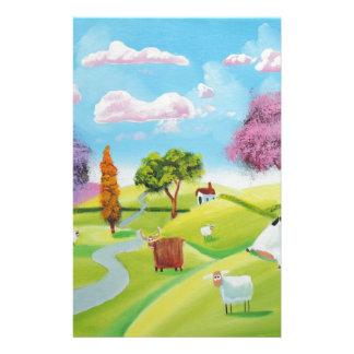 Folks art landscape painting stationery