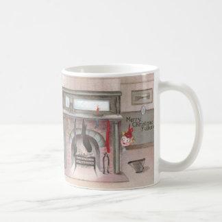 Folks Check Stocking Status Vintage Christmas Coffee Mug