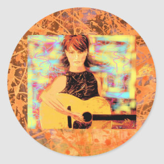 folksinger acoustic gal drip classic round sticker