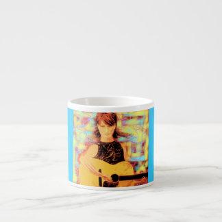 folksinger girl art espresso mug