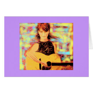folksinger girl greeting card