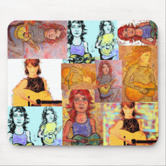 folksinger girl collage mouse pad