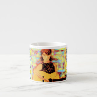 folksinger girl drip painting 6 oz ceramic espresso cup