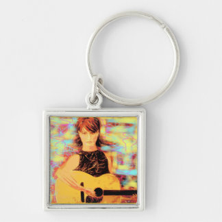 folksinger girl Silver-Colored square keychain