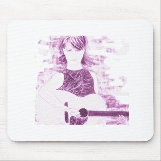 folksinger girl sepia tone mouse pad