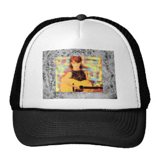 folksinger girl silver drip trucker hat