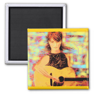 folksinger girl (yellow brown) 2 inch square magnet