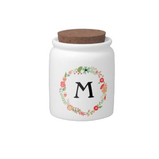 Folksy Floral with Monogram Candy Dishes