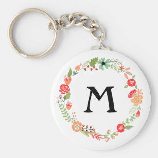 Folksy Floral with Monogram Key Chains