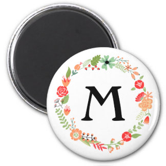 Folksy Floral with Monogram Magnet