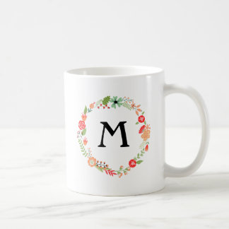 Folksy Floral with Monogram Classic White Coffee Mug