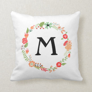 Folksy Floral with Monogram Pillow