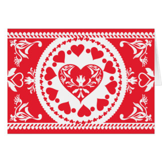 Folksy Hearts Lace Card
