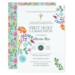 Folksy Wildflower Holy Communion Invite Watercolor