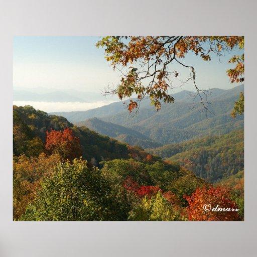 Follaje ahumado del otoño de la montaña poster