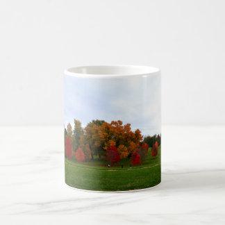 Follaje colorido del otoño taza de café
