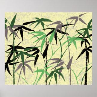 Follaje de bambú, hojas, lanzamientos - amarillo póster