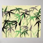Follaje de bambú - tallos, hojas - amarillo verde impresiones