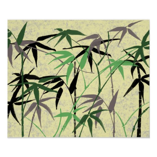 Follaje de bambú - tallos, hojas - amarillo verde póster