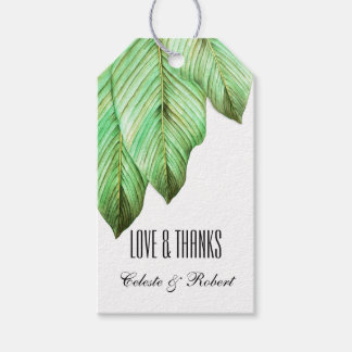 Follaje de la acuarela tropical etiquetas para regalos