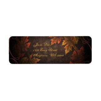 Follaje de otoño etiqueta de remitente