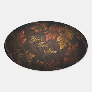 Follaje de otoño pegatina ovalada
