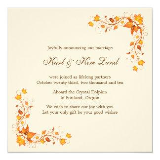 Follaje del otoño 1 tarjeta de la invitación del