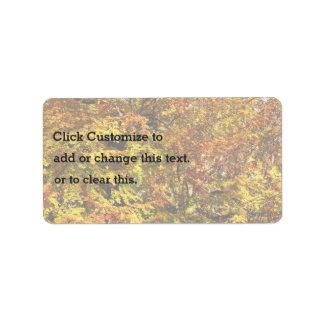Follaje del otoño etiquetas de dirección