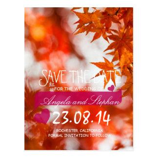 Follaje/reserva del otoño la fecha tarjetas postales