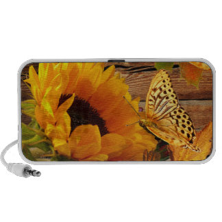 Follaje rústico de la mariposa del girasol de la c portátil altavoz