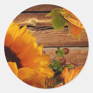 Follaje rústico de la mariposa del girasol de la pegatina redonda