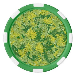 Follaje verde fichas de póquer