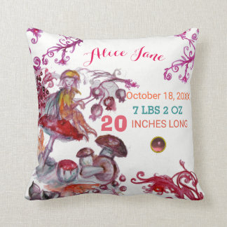 FOLLET OF MUSHROOMS BABY SHOWER Pink Baby Status Throw Pillow
