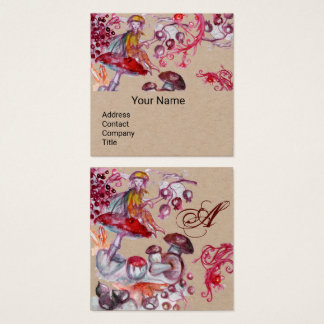 FOLLET OF MUSHROOMS Fantasy Floral Kraft Monogram Square Business Card