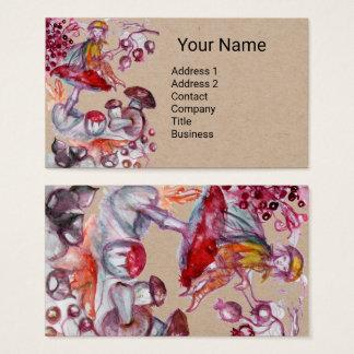 FOLLET OF MUSHROOMS Red White Floral Fantasy Kraft Business Card