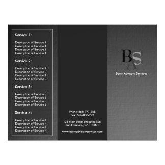 """Folleto negro gris moderno elegante profesional folleto 8.5"""" x 11"""""""