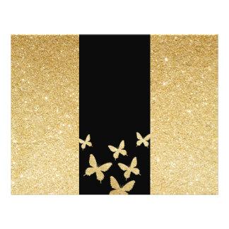 """Folleto triple del oro de las mariposas modernas folleto 8.5"""" x 11"""""""