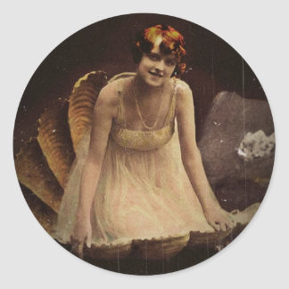 Follies Girl in Sea Shell Classic Round Sticker