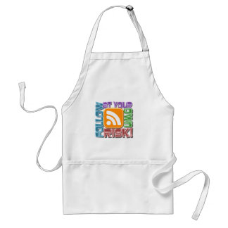 Follow At Your Own Risk! RSS Icon Button Design Adult Apron