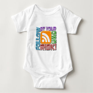 Follow At Your Own Risk! RSS Icon Button Design Baby Bodysuit